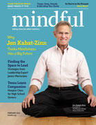 Copertina di Mindful Magazine, n. Febbraio 2014, con Jon Kabat-Zinn