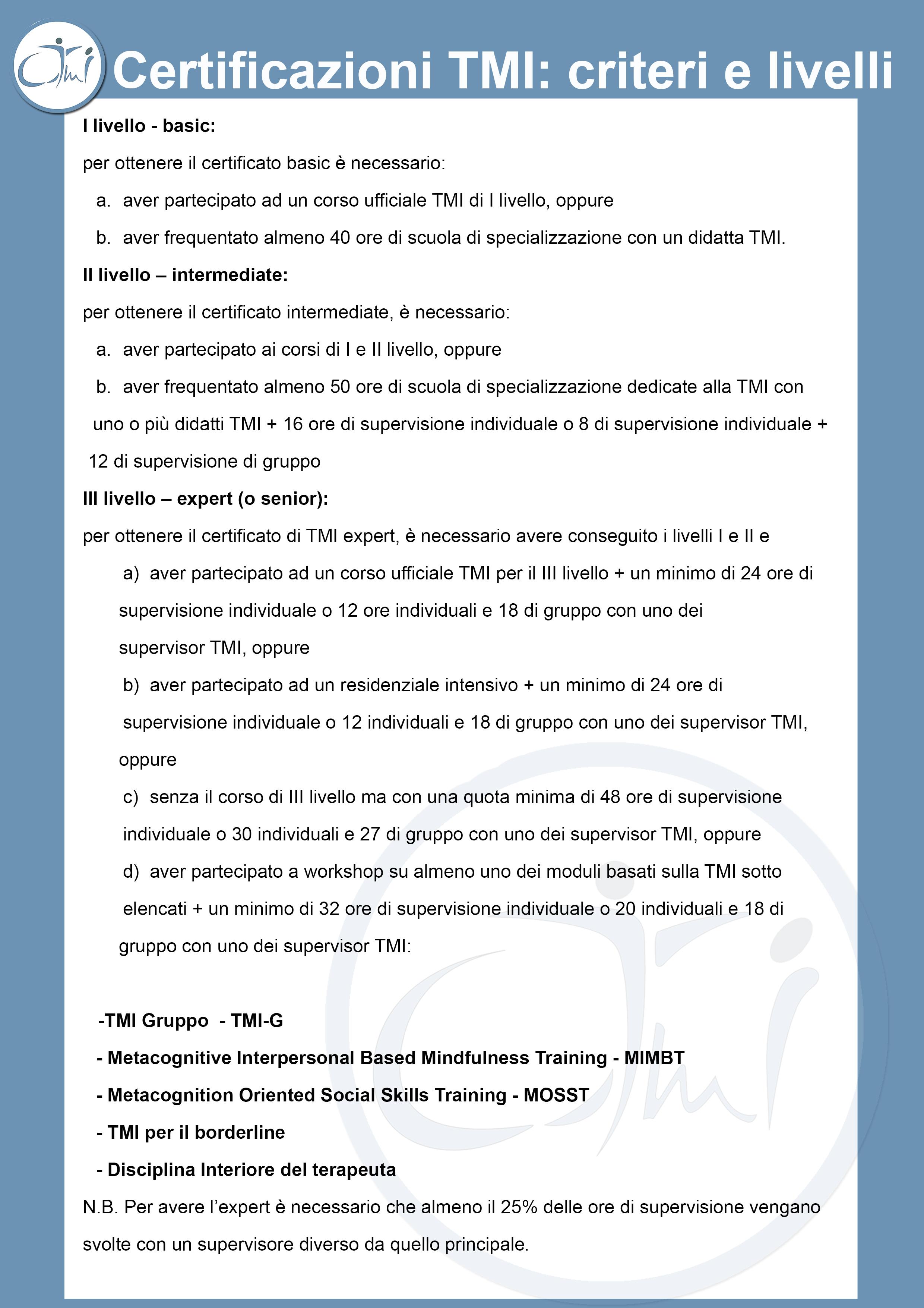 Criteri Certificazione TMI