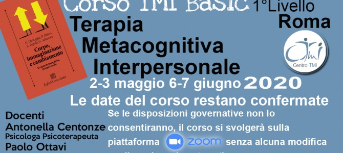 TMI Basic La Terapia Metacognitiva  Interpersonale – Corso di I° Livello Roma
